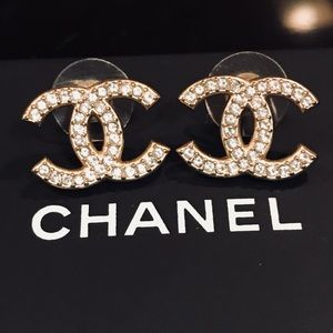 Chanel Crystal CC Earrings  (large size)
